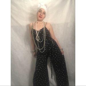 "Black & white polka dot jumpsuit by ""Monteau """